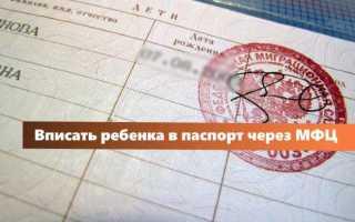 Мфц вписать ребенка в паспорт родителей