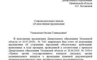 Образец письма о выполнении предписания